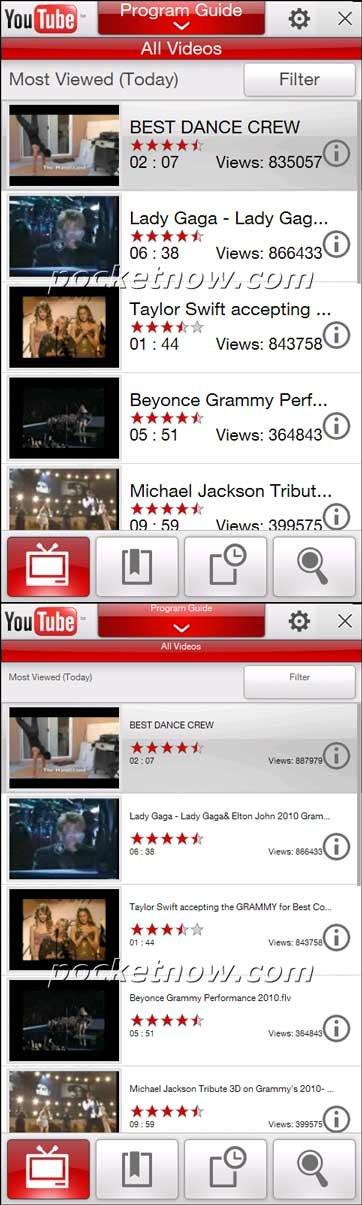 HTC YouTube — размер заголовков