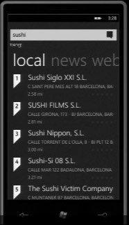 Windows Phone 7 — региональный поиск