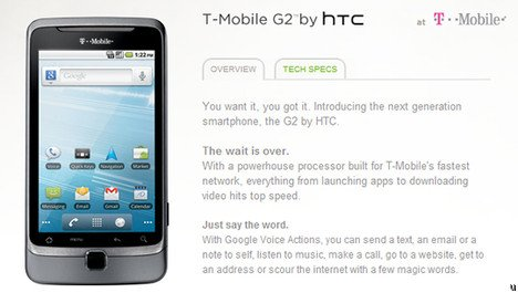 HTC официально представила T-Mobile G2