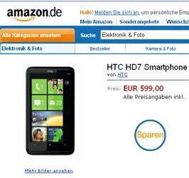 HTC HD7 в Amazon DE