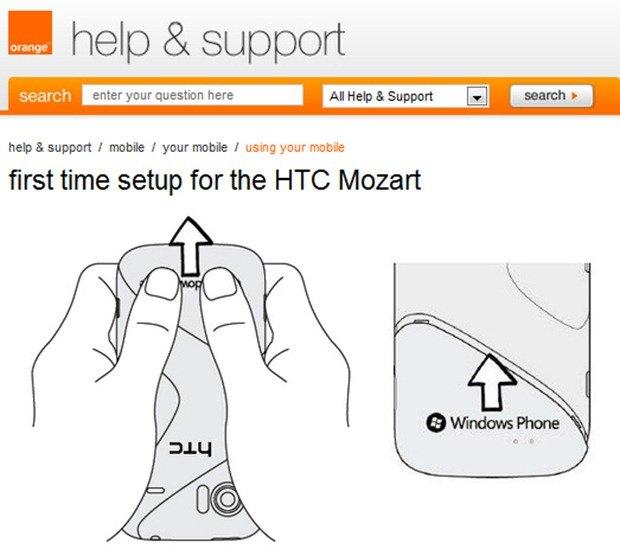 HTC Mozart на сайте Orange