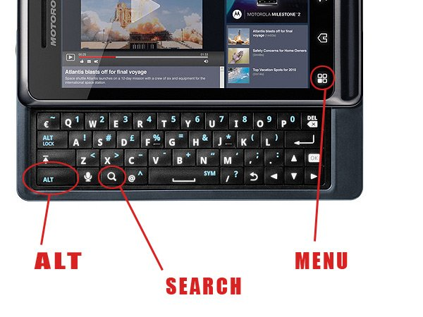 Комбинации клавиш при работе с аппаратной клавиатурой в Android