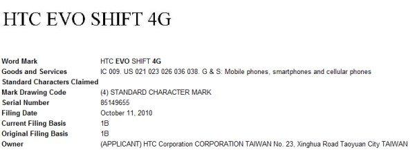 Заявление на регистрацию торговой марки EVO Shift 4G