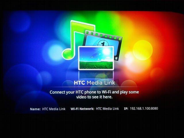 Интерфейс HTC Media Link при подключении к телевизору