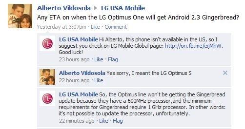 Facebook-страница мобильного подразделения LG в США