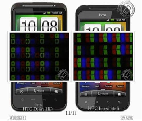 Сравнение экранов Desire HD и Incredible S при сильном приближении