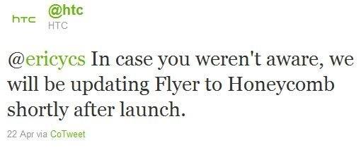 HTC обещает Honeycomb для Flyer сразу после начала продаж