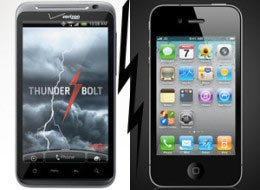 HTC Thunderbolt против iPhone 4