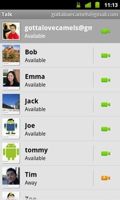 Google Talk с поддержкой видеочата (Android)