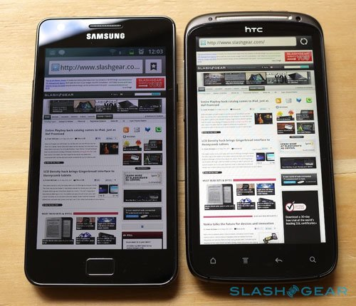 HTC Sensation против Samsung Galaxy S II: экран
