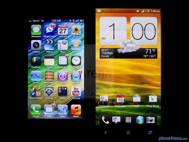 Сравнение экранов iPhone 5 и HTC One X