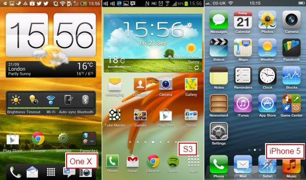 Интерфейс HTC One X, Galaxy S3 и iPhone 5