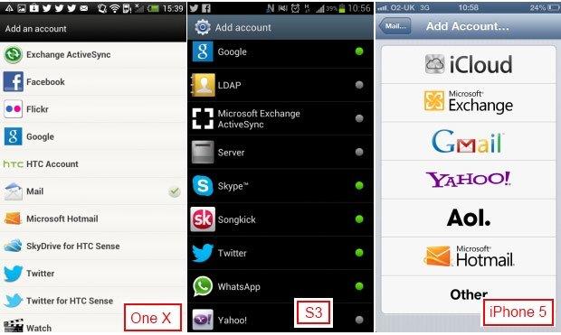 Настройка аккаунтов в HTC One X, Galaxy S3 и iPhone 5