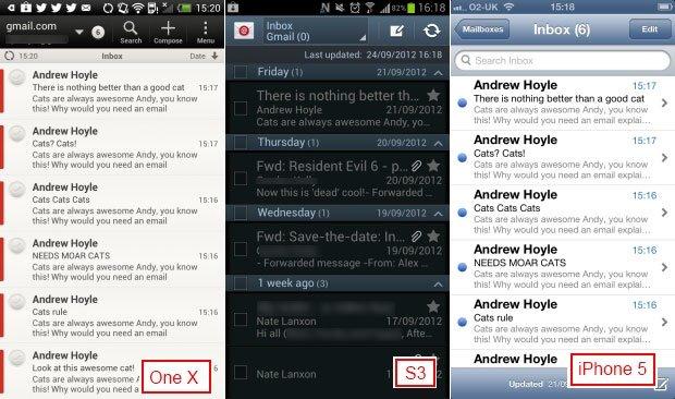 Стандартные почтовые клиенты в HTC One X, Galaxy S3 и iPhone 5