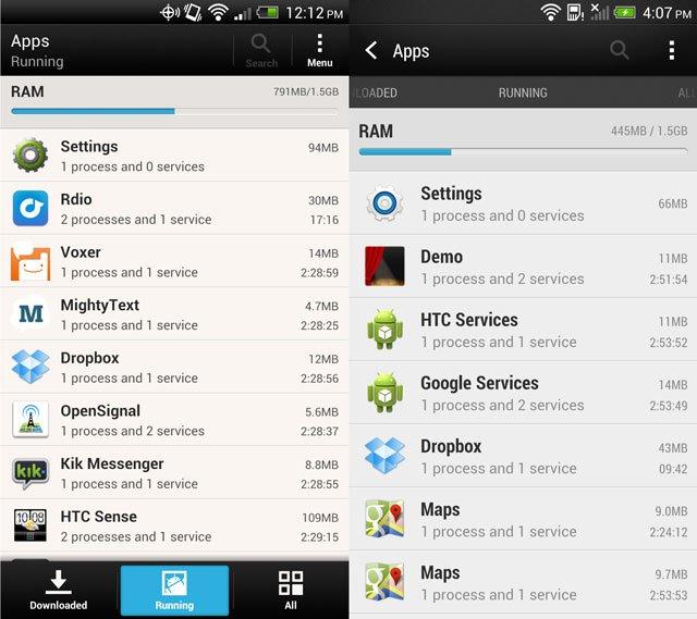 Меню приложений в HTC Sense 4 и HTC Sense 5