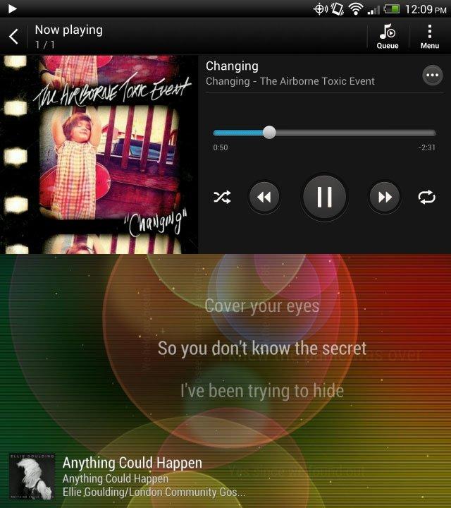 Музыкальный плеер в HTC Sense 4 и HTC Sense 5