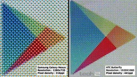Пиксели экрана при большом увеличении: HTC Butterfly против Galaxy Nexus