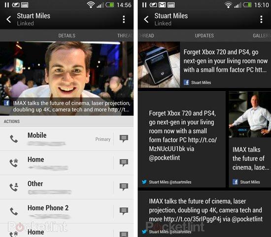 Просмотр контакта в HTC Sense 5