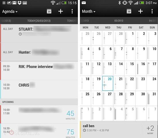 Календарь в Sense 5