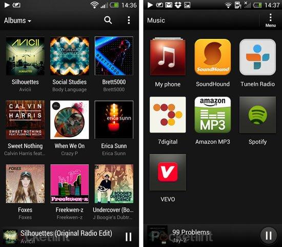 Музыка в HTC Sense 5 (слева) и HTC Sense 4+ (справа)