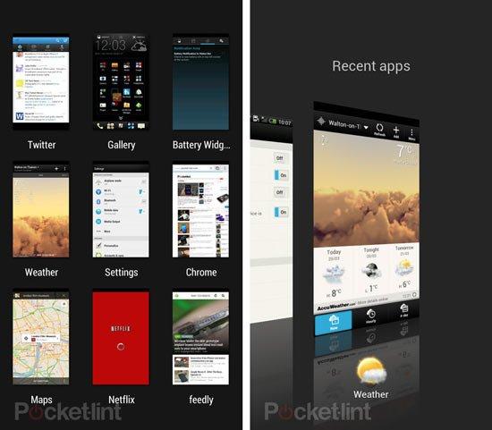 Диспетчер запущенных программ в HTC Sense 5 (слева) и HTC Sense 4+ (справа)