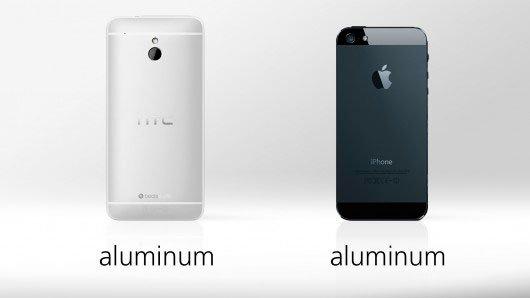 Сравнение материала корпуса HTC One mini и iPhone 5