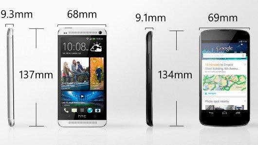 Размеры HTC One и Nexus 4