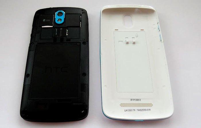 HTC Desire 500 со снятой задней крышкой
