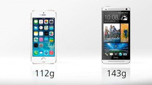 Сравнение iPhone 5s и HTC One: вес
