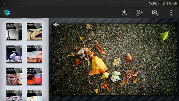 Интерфейс программы Snapseed