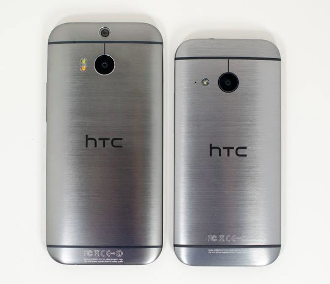 HTC One M8 и HTC One mini 2 сзади