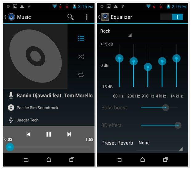 Музыкальный плеер и эквалайзер в HTC Desire 310
