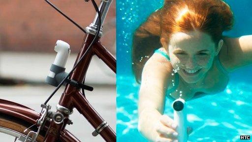 HTC RE на велосипеде и под водой